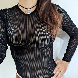 Versace Sheer Mesh Striped Bodycon Black Top XS